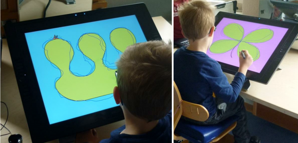 Child working on the tablet. The large drawings are intended to train fluent gross motor arm movements,  initiated from the shoulder joint. (N. Lüscher, H. Van Hedel, 2014)